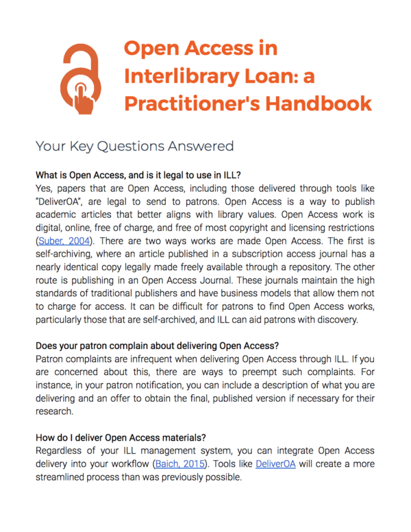 Announcing a Practitioner's Handbook on Open Access in Interlibrary Loan